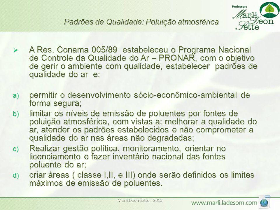 Marli Deon Sette - 2013 Padrões de Qualidade: Poluição atmosférica  A Res. Conama 005/89 estabeleceu o Programa Nacional de Controle da Qualidade do