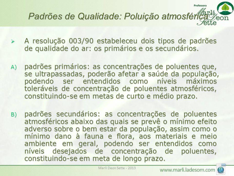 Marli Deon Sette - 2013 Padrões de Qualidade: Poluição atmosférica  A resolução 003/90 estabeleceu dois tipos de padrões de qualidade do ar: os primá