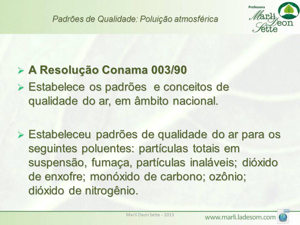 Marli Deon Sette - 2013 Padrões de Qualidade: Poluição atmosférica  A Resolução Conama 003/90  Estabelece os padrões e conceitos de qualidade do ar,