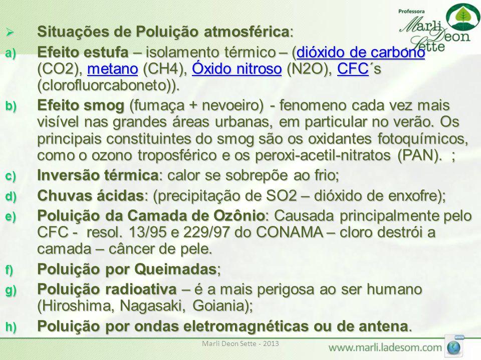 Marli Deon Sette - 2013  Situações de Poluição atmosférica: a) Efeito estufa – isolamento térmico – (dióxido de carbono (CO2), metano (CH4), Óxido ni