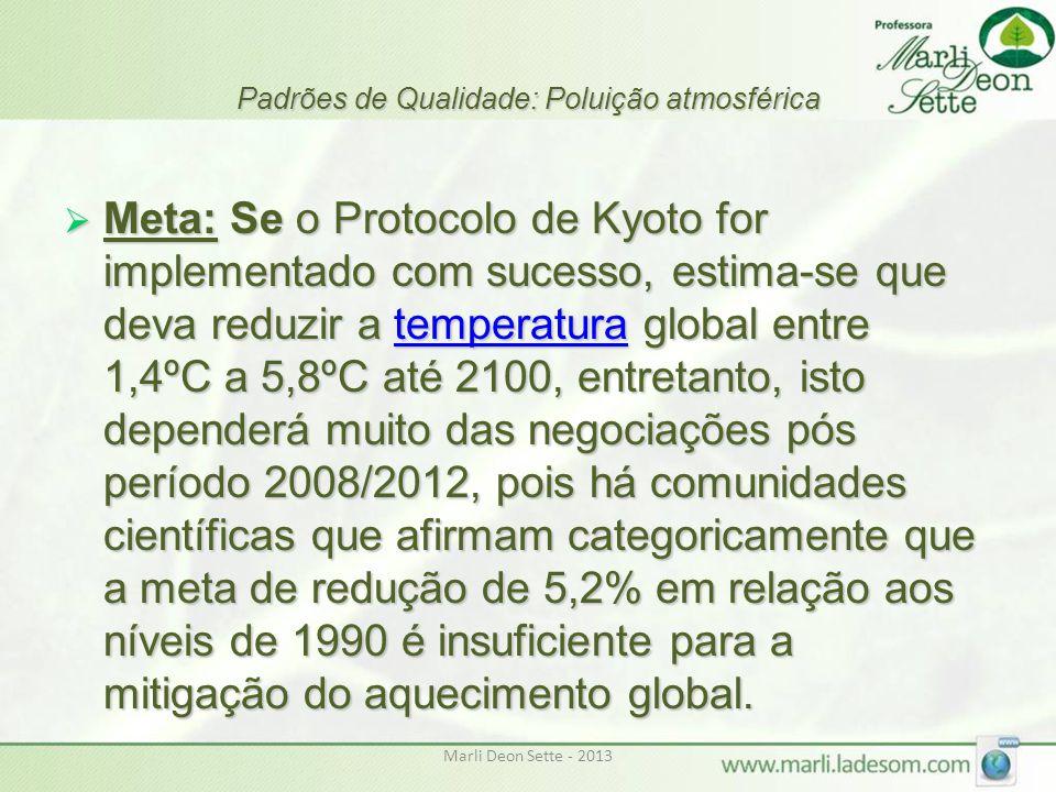 Marli Deon Sette - 2013 Padrões de Qualidade: Poluição atmosférica  Meta: Se o Protocolo de Kyoto for implementado com sucesso, estima-se que deva re