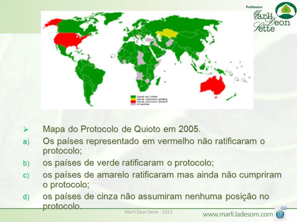 Marli Deon Sette - 2013  Mapa do Protocolo de Quioto em 2005. a) Os países representado em vermelho não ratificaram o protocolo; b) os países de verd