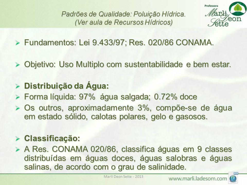 Marli Deon Sette - 2013 Padrões de Qualidade: Poluição Hídrica. (Ver aula de Recursos Hídricos)  Fundamentos: Lei 9.433/97; Res. 020/86 CONAMA.  Obj