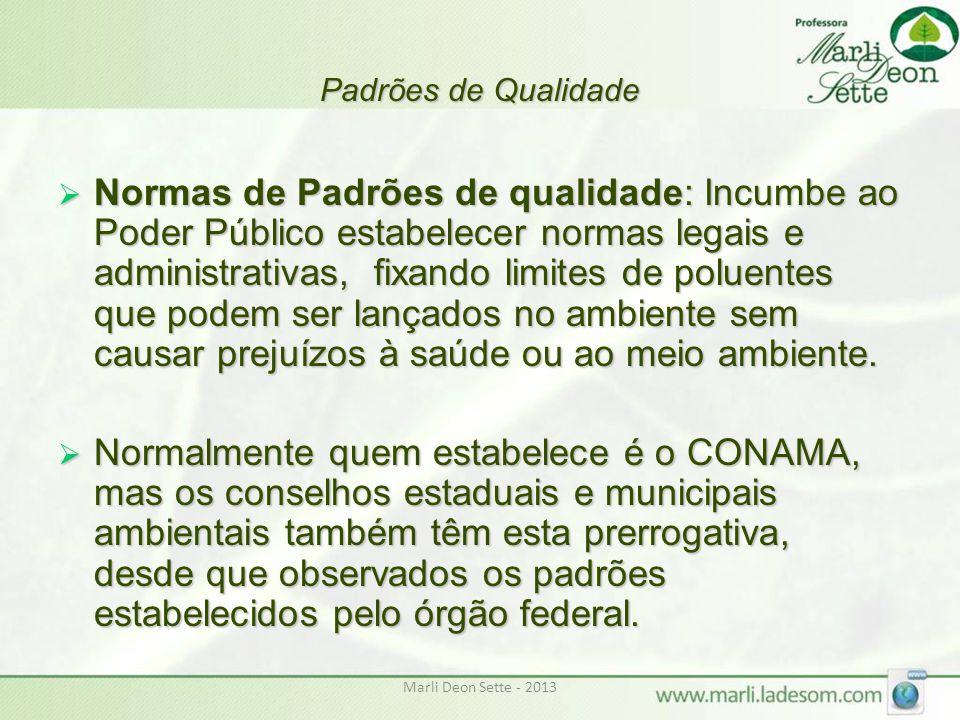 Marli Deon Sette - 2013 Padrões de Qualidade  Normas de Padrões de qualidade: Incumbe ao Poder Público estabelecer normas legais e administrativas, f