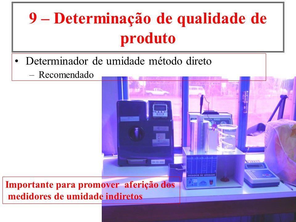 9 – Determinação de qualidade de produto Importante para promover aferição dos medidores de umidade indiretos Determinador de umidade método direto –R
