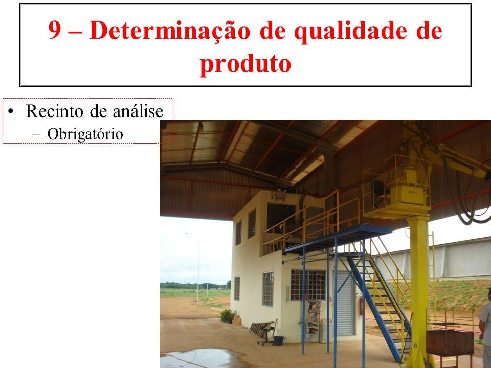9 – Determinação de qualidade de produto Recinto de análise –Obrigatório
