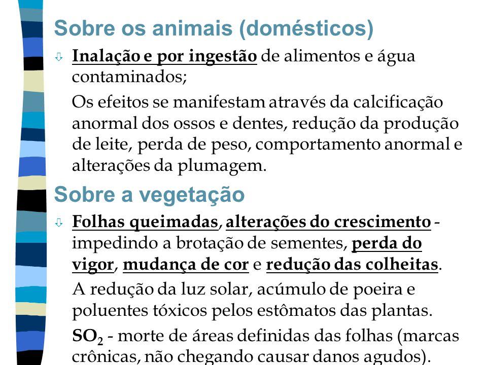 Sobre os animais (domésticos) ò Inalação e por ingestão de alimentos e água contaminados; Os efeitos se manifestam através da calcificação anormal dos