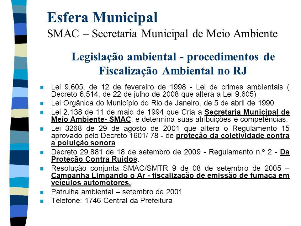 Legislação ambiental - procedimentos de Fiscalização Ambiental no RJ n Lei 9.605, de 12 de fevereiro de 1998 - Lei de crimes ambientais ( Decreto 6.51