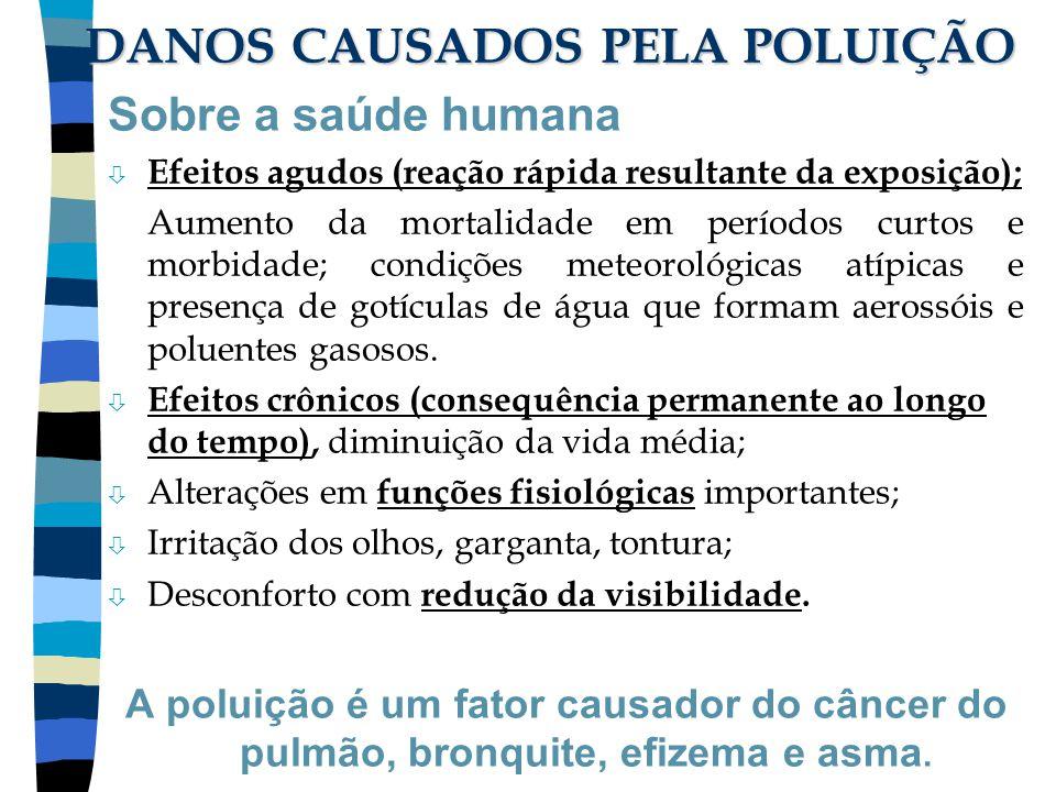 DANOS CAUSADOS PELA POLUIÇÃO Sobre a saúde humana ò Efeitos agudos (reação rápida resultante da exposição); Aumento da mortalidade em períodos curtos