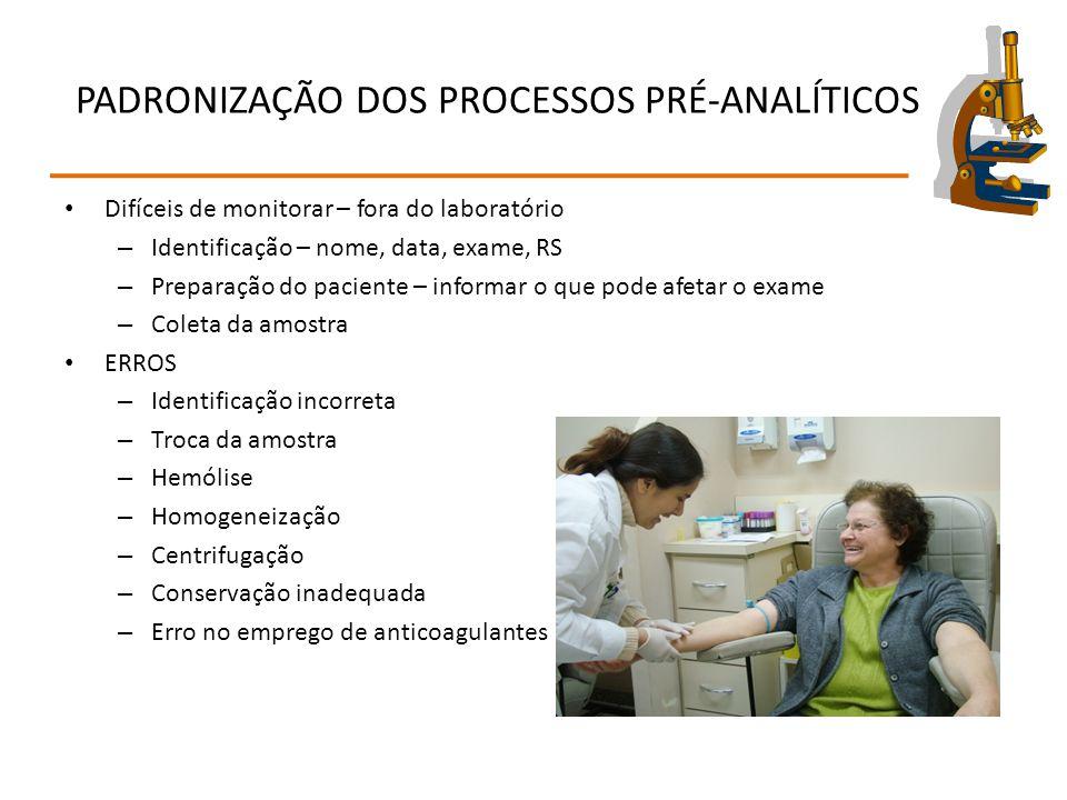 PADRONIZAÇÃO DOS PROCESSOS PRÉ-ANALÍTICOS Difíceis de monitorar – fora do laboratório – Identificação – nome, data, exame, RS – Preparação do paciente