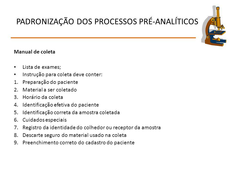 PADRONIZAÇÃO DOS PROCESSOS PRÉ-ANALÍTICOS Manual de coleta Lista de exames; Instrução para coleta deve conter: 1.Preparação do paciente 2.Material a s