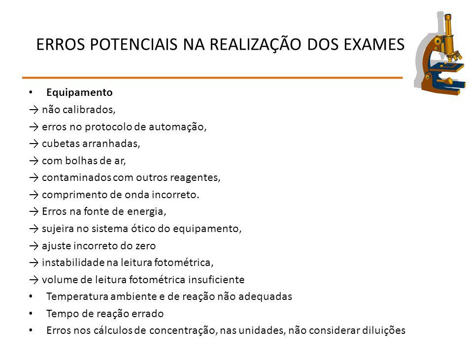 ERROS POTENCIAIS NA REALIZAÇÃO DOS EXAMES Equipamento → não calibrados, → erros no protocolo de automação, → cubetas arranhadas, → com bolhas de ar, →