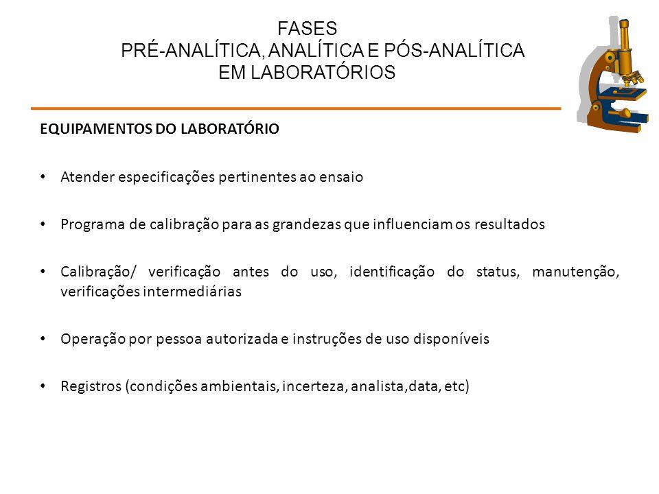 FASES PRÉ-ANALÍTICA, ANALÍTICA E PÓS-ANALÍTICA EM LABORATÓRIOS EQUIPAMENTOS DO LABORATÓRIO Atender especificações pertinentes ao ensaio Programa de ca