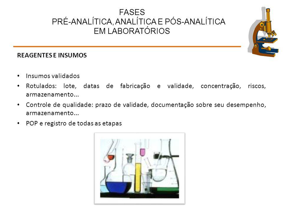REAGENTES E INSUMOS Insumos validados Rotulados: lote, datas de fabricação e validade, concentração, riscos, armazenamento... Controle de qualidade: p