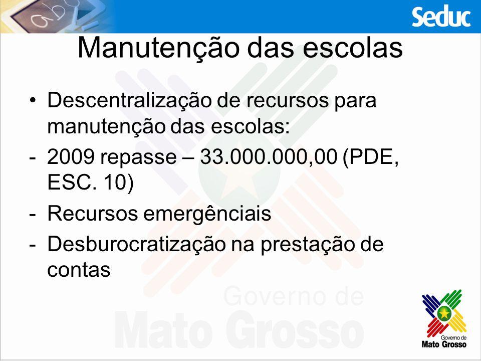 Manutenção das escolas Descentralização de recursos para manutenção das escolas: -2009 repasse – 33.000.000,00 (PDE, ESC. 10) -Recursos emergênciais -