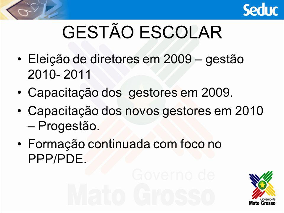 GESTÃO ESCOLAR Eleição de diretores em 2009 – gestão 2010- 2011 Capacitação dos gestores em 2009. Capacitação dos novos gestores em 2010 – Progestão.