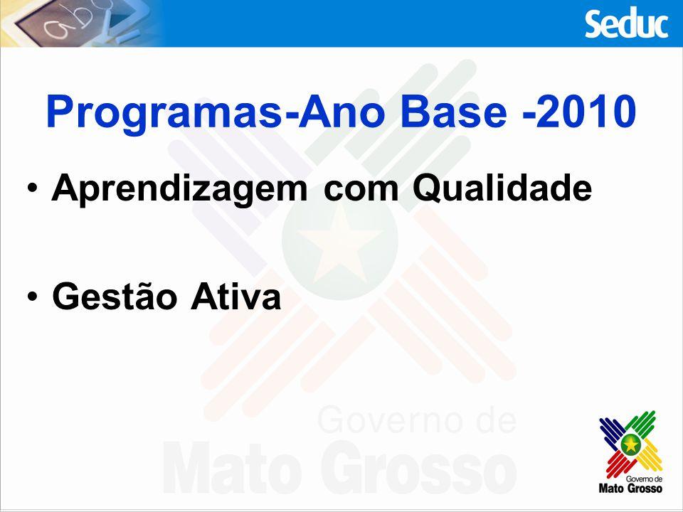 Programas-Ano Base -2010 Aprendizagem com Qualidade Gestão Ativa