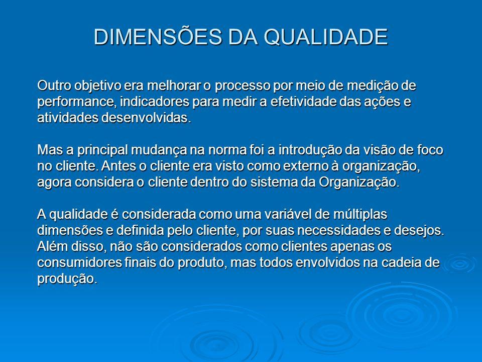 QUALIDADE Um sistema de gestão da qualidade é um sistema no qual os elementos são processos.
