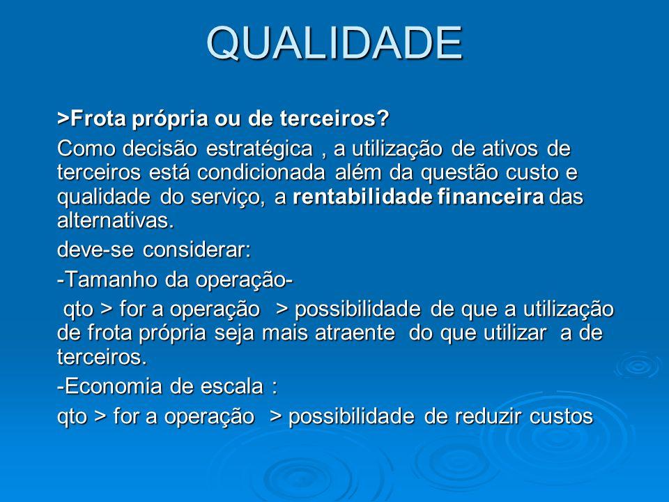 QUALIDADE -Sofistificação em termos de tecnologia e gestão.