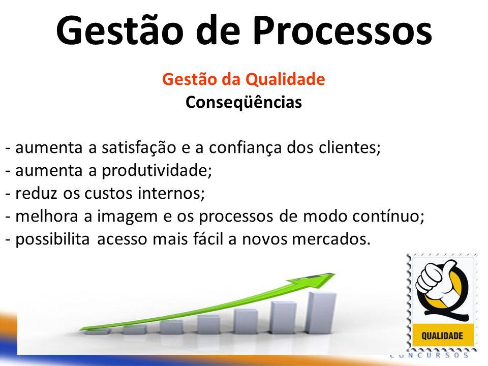 Gestão da Qualidade Conseqüências - aumenta a satisfação e a confiança dos clientes; - aumenta a produtividade; - reduz os custos internos; - melhora