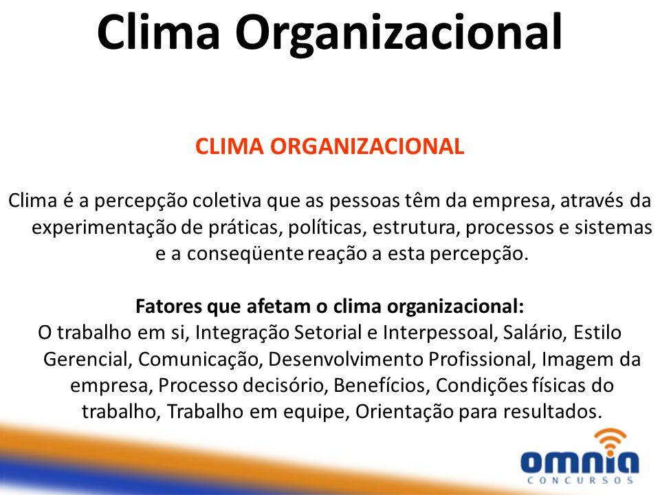 CLIMA ORGANIZACIONAL Clima é a percepção coletiva que as pessoas têm da empresa, através da experimentação de práticas, políticas, estrutura, processo