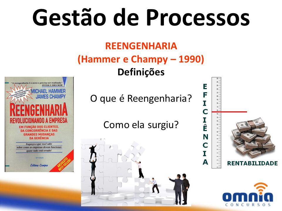 REENGENHARIA (Hammer e Champy – 1990) Definições O que é Reengenharia? Como ela surgiu? Gestão de Processos