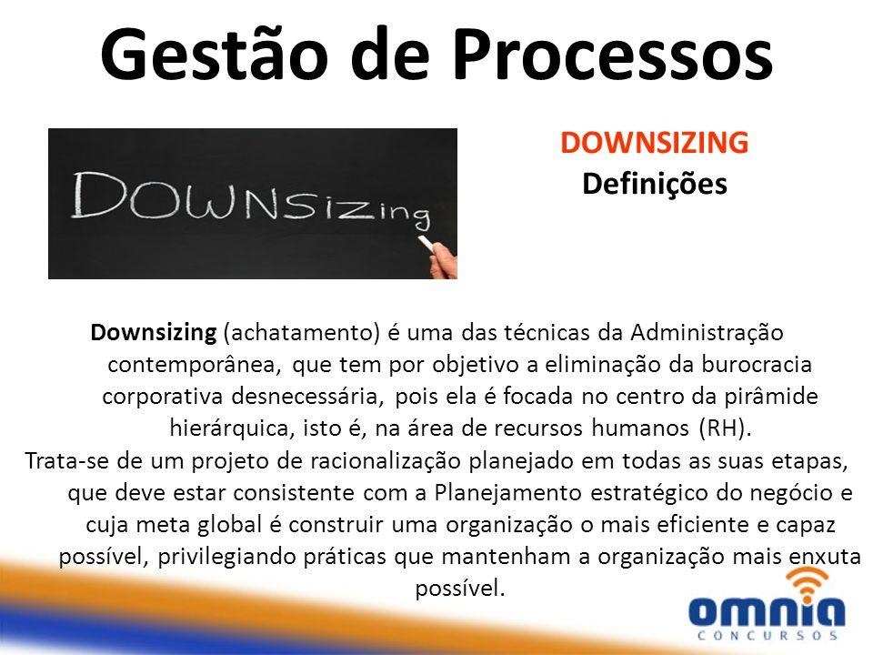 DOWNSIZING Definições Downsizing (achatamento) é uma das técnicas da Administração contemporânea, que tem por objetivo a eliminação da burocracia corp