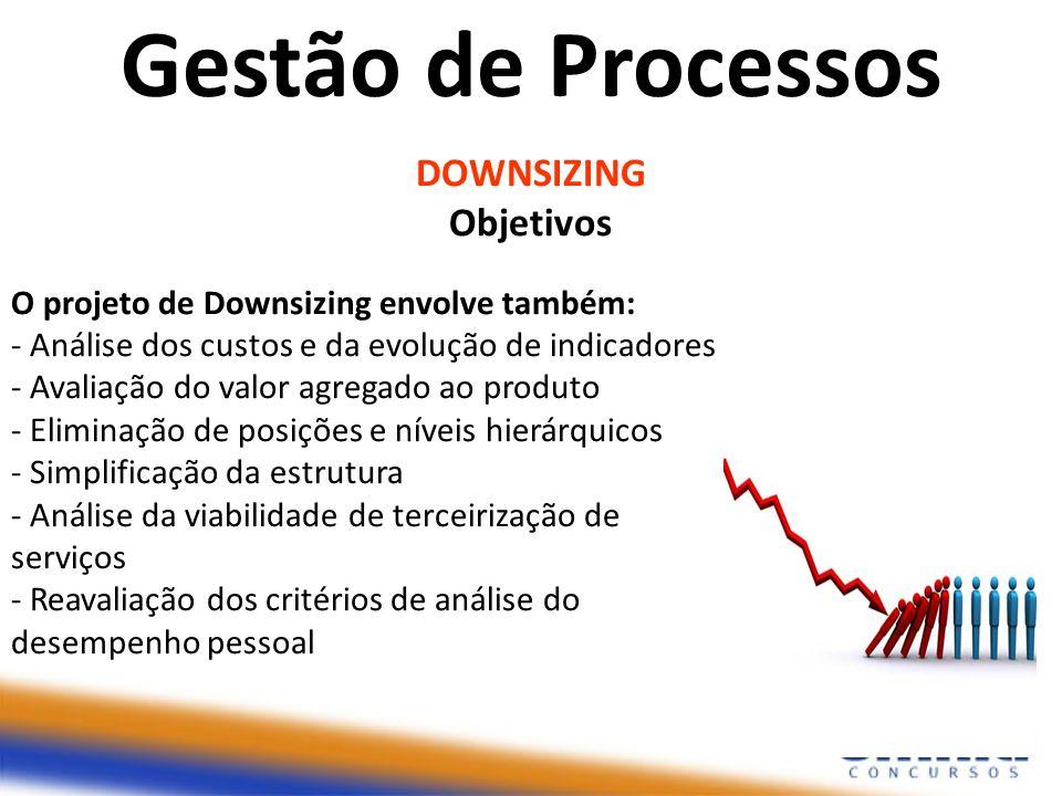 DOWNSIZING Objetivos O projeto de Downsizing envolve também: - Análise dos custos e da evolução de indicadores - Avaliação do valor agregado ao produt