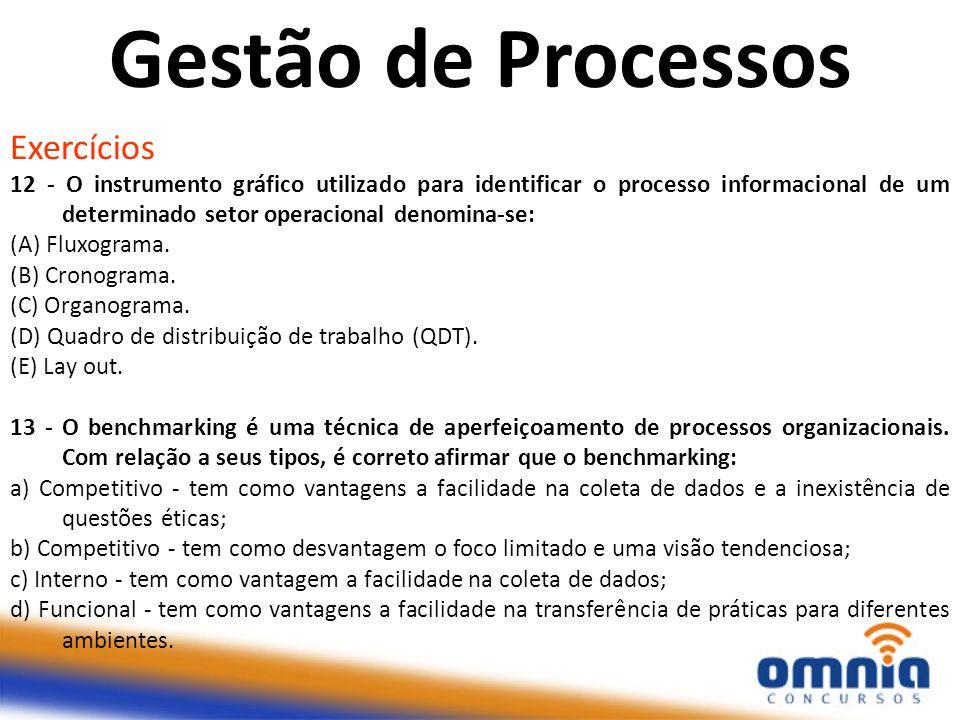 Exercícios 12 - O instrumento gráfico utilizado para identificar o processo informacional de um determinado setor operacional denomina-se: (A) Fluxogr