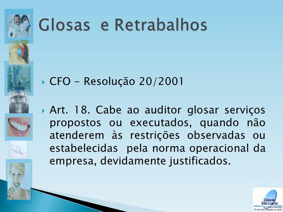  CFO - Resolução 20/2001  Art. 18. Cabe ao auditor glosar serviços propostos ou executados, quando não atenderem às restrições observadas ou estabel