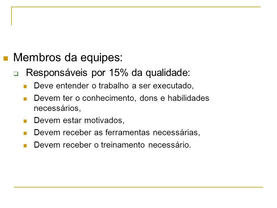 Membros da equipes:  Responsáveis por 15% da qualidade: Deve entender o trabalho a ser executado, Devem ter o conhecimento, dons e habilidades necess