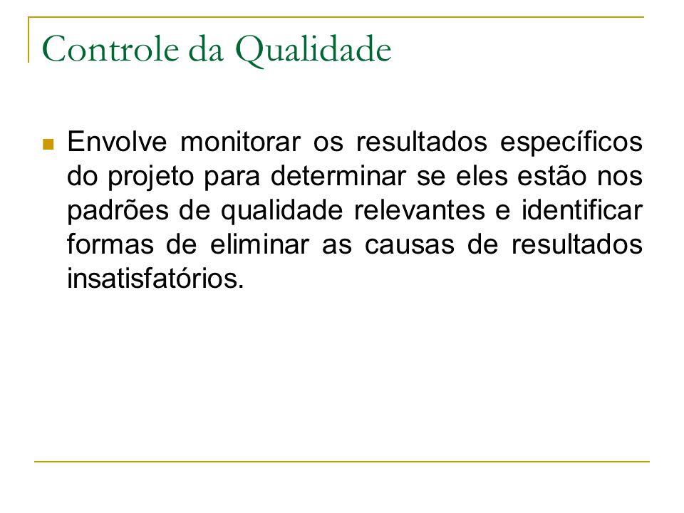 Controle da Qualidade Envolve monitorar os resultados específicos do projeto para determinar se eles estão nos padrões de qualidade relevantes e ident