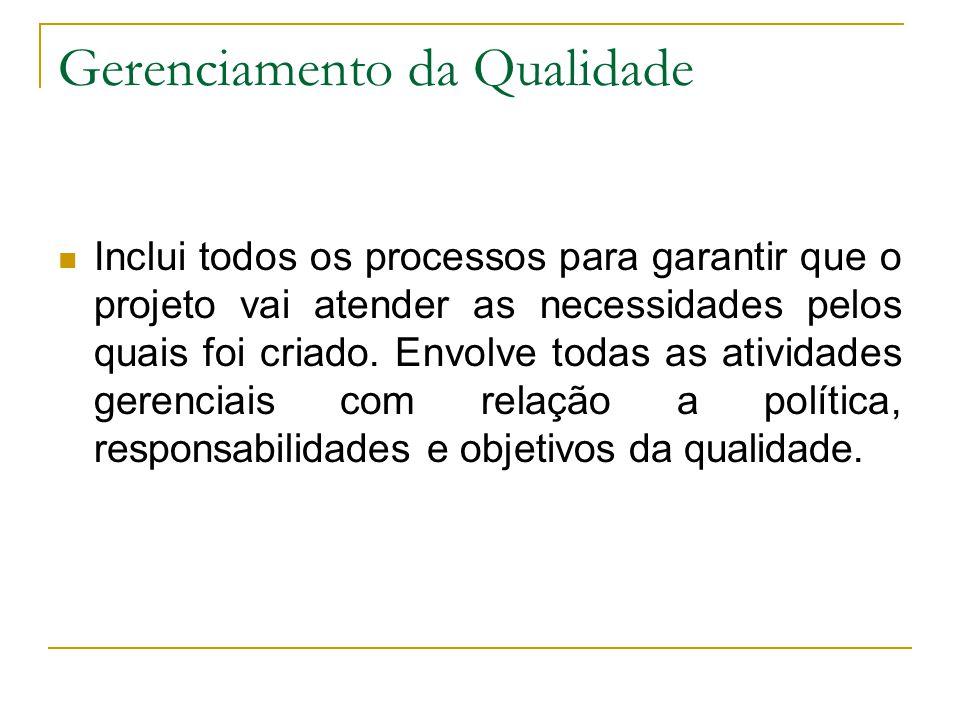 Gerenciamento da Qualidade Inclui todos os processos para garantir que o projeto vai atender as necessidades pelos quais foi criado. Envolve todas as