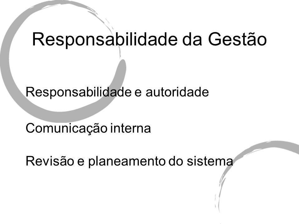 Responsabilidade da Gestão Responsabilidade e autoridade Comunicação interna Revisão e planeamento do sistema