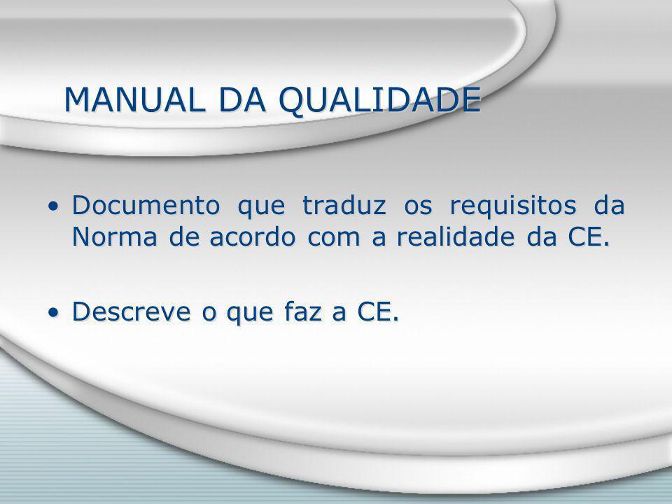 MANUAL DA QUALIDADE Documento que traduz os requisitos da Norma de acordo com a realidade da CE.