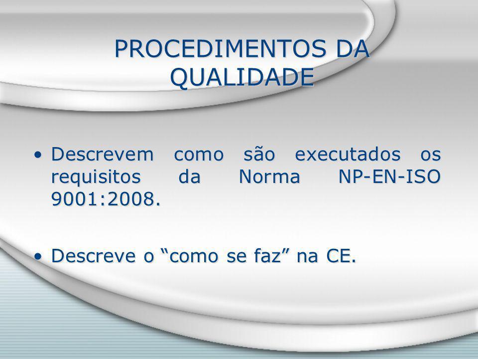 PROCEDIMENTOS DA QUALIDADE Descrevem como são executados os requisitos da Norma NP-EN-ISO 9001:2008.