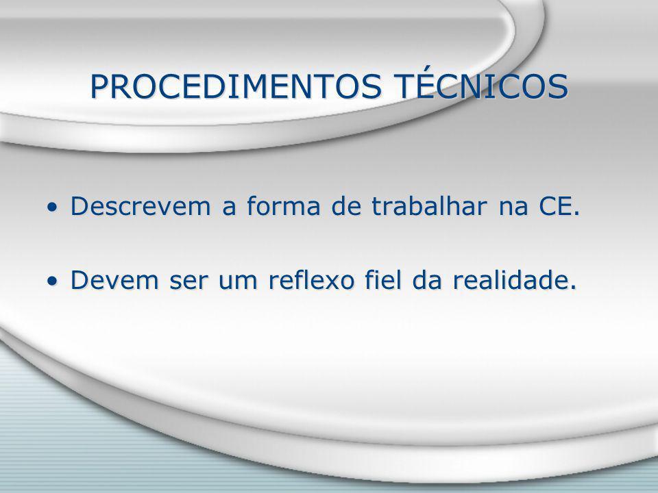 PROCEDIMENTOS TÉCNICOS Descrevem a forma de trabalhar na CE.