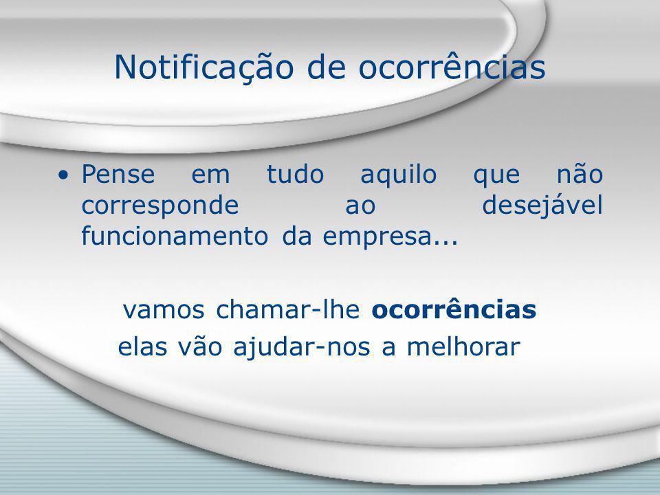 Notificação de ocorrências Pense em tudo aquilo que não corresponde ao desejável funcionamento da empresa...