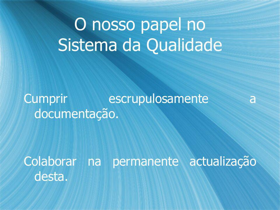 O nosso papel no Sistema da Qualidade Cumprir escrupulosamente a documentação.