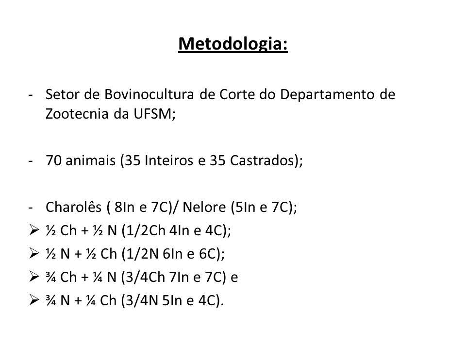 Metodologia: -Setor de Bovinocultura de Corte do Departamento de Zootecnia da UFSM; -70 animais (35 Inteiros e 35 Castrados); -Charolês ( 8In e 7C)/ N