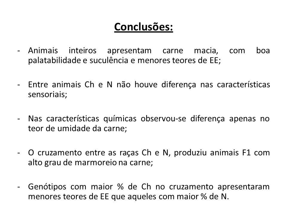 Conclusões: -Animais inteiros apresentam carne macia, com boa palatabilidade e suculência e menores teores de EE; -Entre animais Ch e N não houve dife