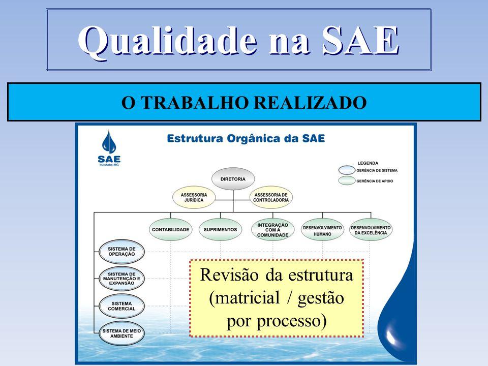O TRABALHO REALIZADO Qualidade na SAE Revisão da estrutura (matricial / gestão por processo)