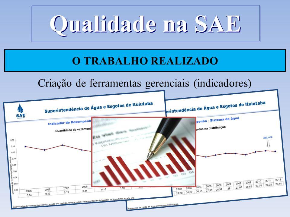 O TRABALHO REALIZADO Criação de ferramentas gerenciais (indicadores) Qualidade na SAE