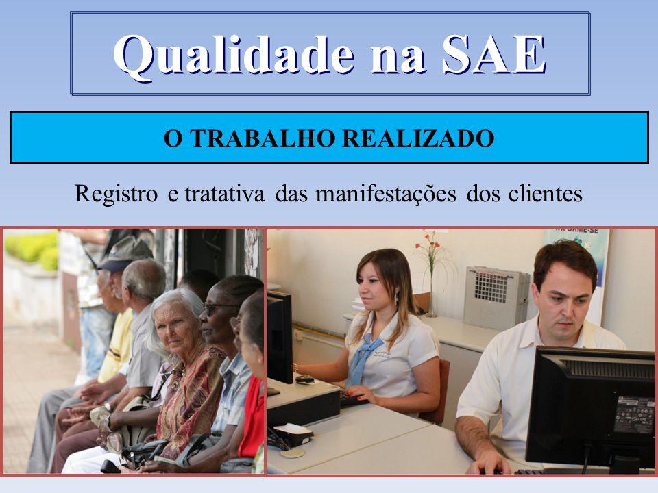 O TRABALHO REALIZADO Registro e tratativa das manifestações dos clientes Qualidade na SAE