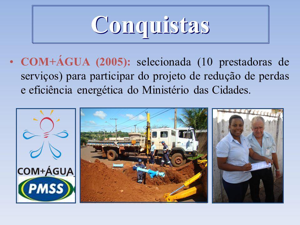 COM+ÁGUA (2005): selecionada (10 prestadoras de serviços) para participar do projeto de redução de perdas e eficiência energética do Ministério das Ci