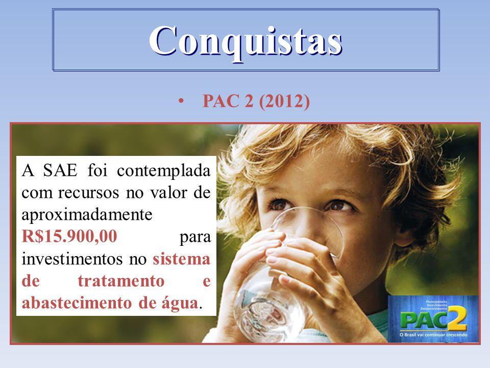 PAC 2 (2012) A SAE foi contemplada com recursos no valor de aproximadamente R$15.900,00 para investimentos no sistema de tratamento e abastecimento de