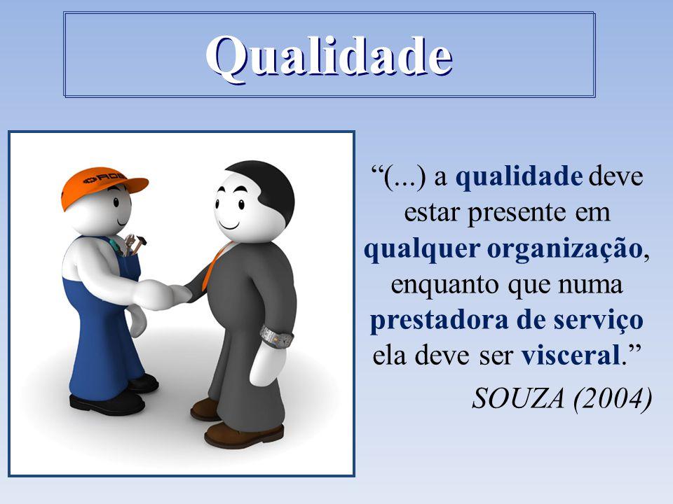 """""""(...) a qualidade deve estar presente em qualquer organização, enquanto que numa prestadora de serviço ela deve ser visceral."""" SOUZA (2004) Qualidade"""