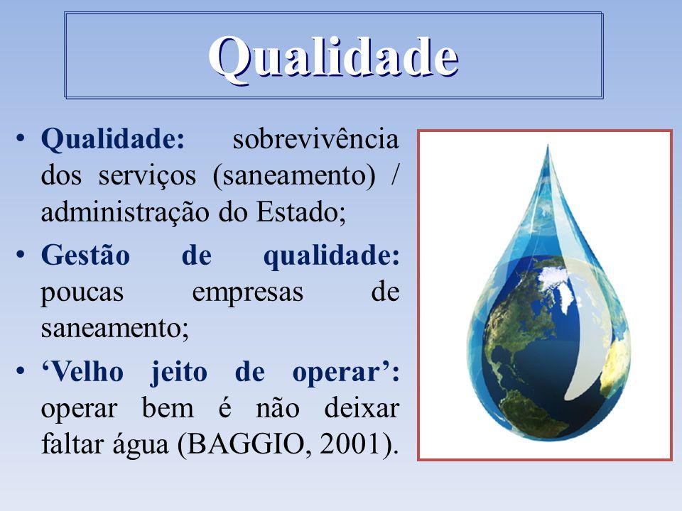 Qualidade: sobrevivência dos serviços (saneamento) / administração do Estado; Gestão de qualidade: poucas empresas de saneamento; 'Velho jeito de oper