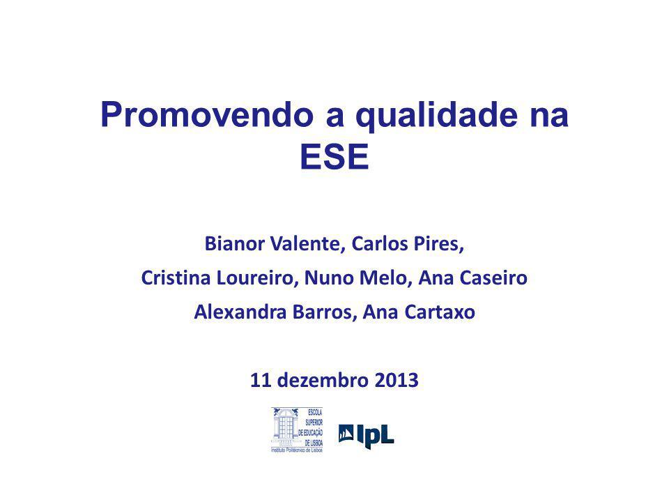 Promovendo a qualidade na ESE Bianor Valente, Carlos Pires, Cristina Loureiro, Nuno Melo, Ana Caseiro Alexandra Barros, Ana Cartaxo 11 dezembro 2013