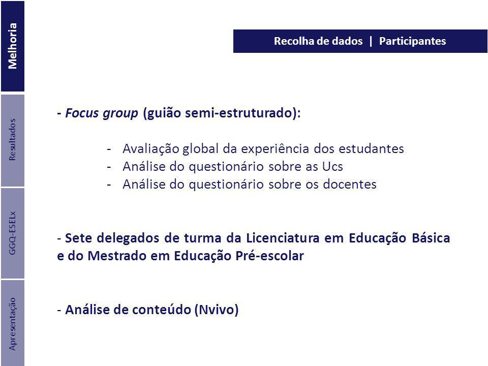 - Focus group (guião semi-estruturado): - Avaliação global da experiência dos estudantes - Análise do questionário sobre as Ucs - Análise do questioná
